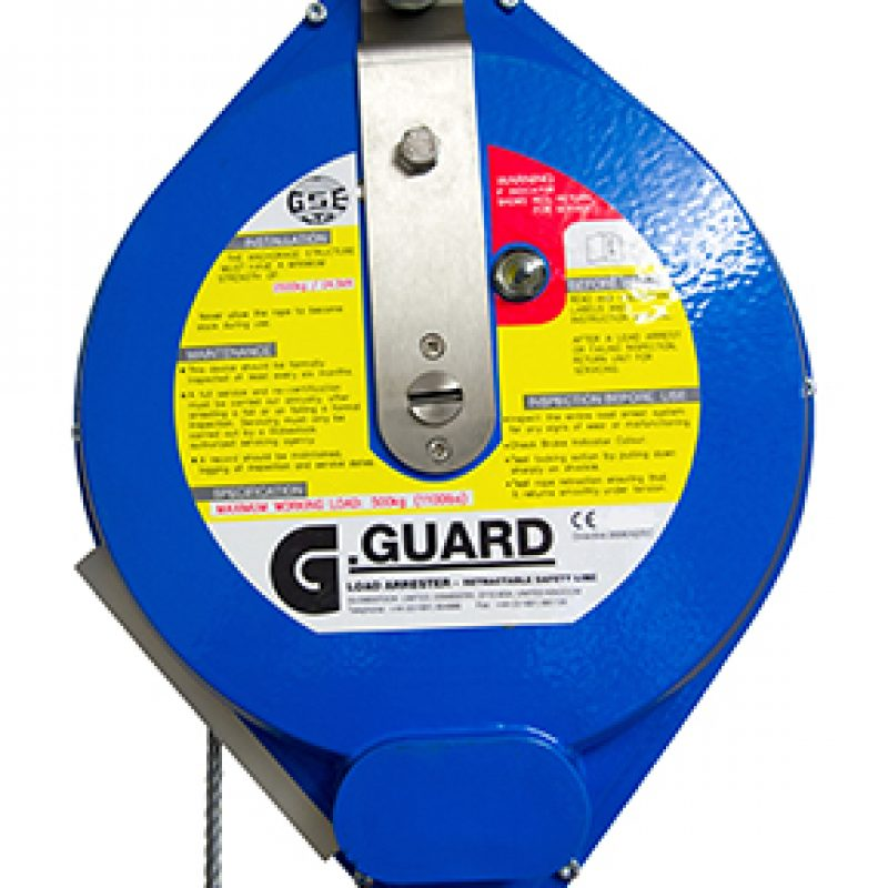 Globestock's G-Guard series of load arrestors is an effective system for automatically stopping the fall of an overhead load, protecting the load whilst at the same time reducing the chance of injury to anyone nearby. If the load enters into free-fall the cable is pulled out at an accelerating rate and, when the activation speed is reached, the braking system engages and brings the load to a smooth and cushioned stop. The G-Guard is a retractable, tensioned safety line for protection of machinery, high value and sensitive loads. Load arrestors provide a backup safety system to protect a load at height and automatically stop its fall, should the primary means of support fail. This helps to reduce hazards in the area below the load. The fall protection brake can be activated by quickly extracting the safety line from within the arrestor housing. This happens when a fall occurs. The fall protection brake includes a shock-absorbing element to minimize the forces encountered when stopping a falling load. G-Guard load arrestors are suitable for protecting both static and moving loads in a wide variety of applications.