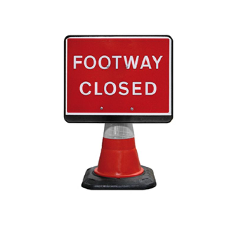 JSP PortaCone - Black Footway Closed Sign
