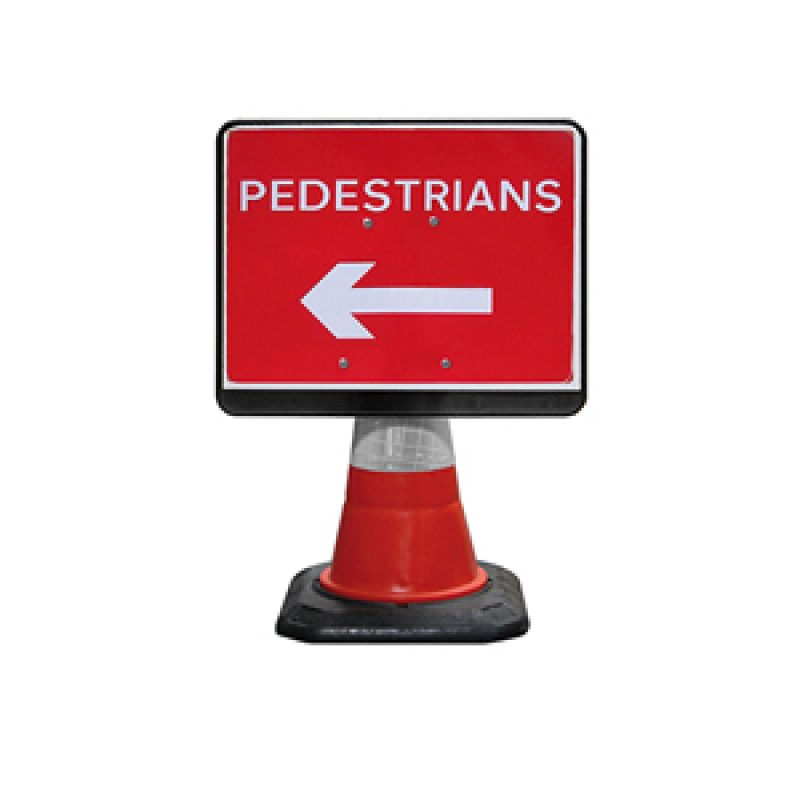 JSP PortaCone - Black Pedestrian Left Sign