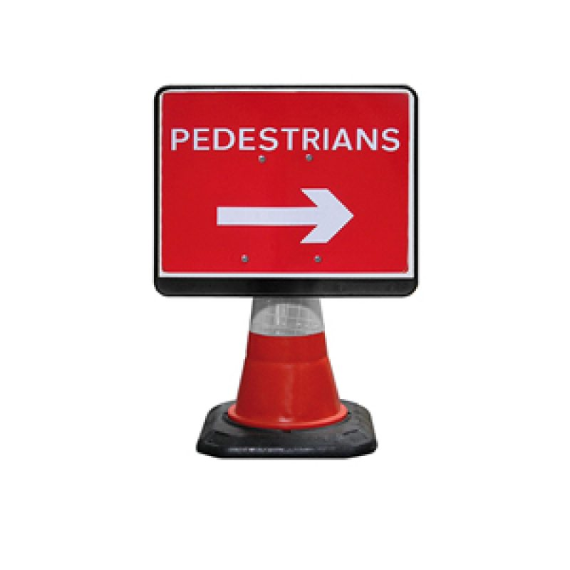 JSP PortaCone - Black Pedestrian Right Sign